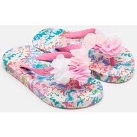 White Mermaid Floral Printed Flip Flops  Size Childrens 1