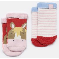 Cream Horse Pack Of Two Terry Towelling Socks  Size 2Yr-3Yr
