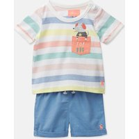 White Multi Stripe Marvin Jersey Top And Woven Short Set  Size 9M-12M