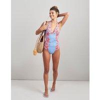 BLUE FLORAL BORDER Oceanne Halter Swimsuit  Size 14
