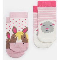 Pink Horse Sheep Neat Feet Two Pack Character Socks  Size 12M-24M