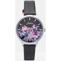 Black Winter Floral Audra Ladies Leather Strap Watch  Size One Size