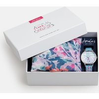 Blue Floral Time To Wrap Up Watch And Scarf Gift Set  Size One Size