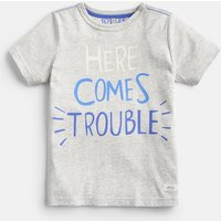 GREY MARL TROUBLE 204639 Screenprint Tee  Size 11yr-12yr