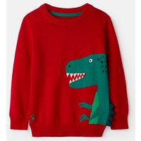 Red Dino Spike Zany Animal Intarsia Jumper 1-6 Years  Size 1Yr