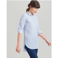 BLUE Jeanne Plain Long Line Linen Shirt  Size 8