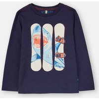 Navy Snowboards Action Slim Fit Long Sleeve T-Shirt 3-12 Years  Size 7Yr-8Yr