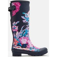 NAVY ALL OVER FLORAL Printed wellies With Adjustable Back Gusset  Size Adult 5