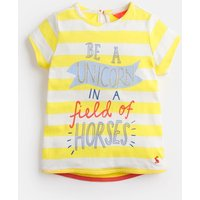 Yellow Stripe Unicorn Pixie Jersey Screenprint T-Shirt 1-6 Yr  Size 6Yr