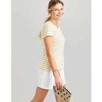 WHITE LEMON STRIPE Nessa stripe Lightweight Jersey T-Shirt  Size 16