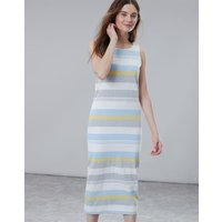Blue Grey Lemon Stripe Riva Midi Length Jersey Dress  Size 14
