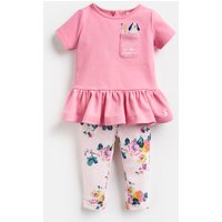 Pink Dog Floral Olivia Applique Top And Trousers Set  Size 9M-12M