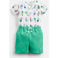 White Sport Dino Joey Jersey Bodysuit And Shorts Set  Size 12M-18M