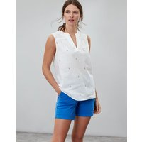 White Sail Juliette Print Sleeveless V Neck Top  Size 6