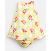 Yellow Gingham Floral Bunty Woven Dress And Knicker Set  Size 9M-12M