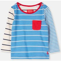 WHITBY BLUE STRIPE 204088 Breton Top with Patch Pocket  Size 18m-24m