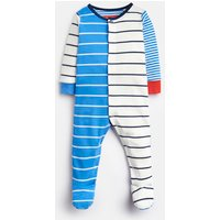 Whitby Blue Stripe 203981 All Over Print Babygrow With Feet  Size 3M-6M
