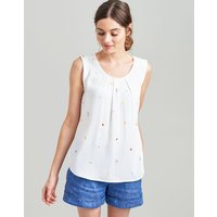 White Picnic Alyse Sleeveless Woven Top  Size 16