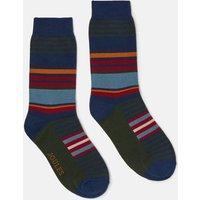 Green Multi Stripe Striking Single Pair Of Socks  Size Adult 7-12