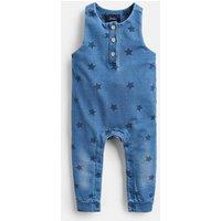 Blue Stars Frankie Print Jersey Denim Dungarees  Size 0M-3M