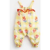 Yellow Gingham Floral Esther Woven Printed Romper  Size 0M-3M