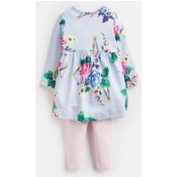 Light Blue Rabbit Floral Christina Dress And Leggings Set  Size 6M-9M
