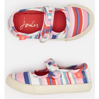 Cream Pink Stripe Funday Canvas Strap Pumps  Size Childrens 12