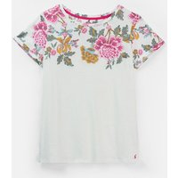 Cream Floral Border 206903 Printed Jersey T Shirt  Size 12