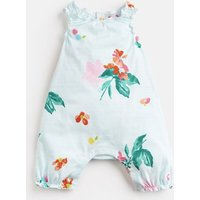 AQUA FLORAL STRIPE Lottie Jersey Printed Babygrow  Size 0m-3m