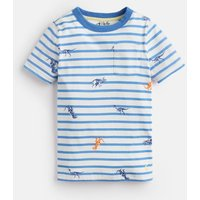 Blue Skeleton Dino Stripe Caspian Stripe T-Shirt 1-6 Yr  Size 2Yr