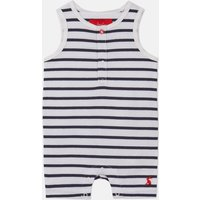 White Navy Stripe Ruben Sleeveless Romper  Size 9M-12M