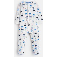 White Drawn Boats Ziggy Jersey Printed Babygrow  Size 6M-9M