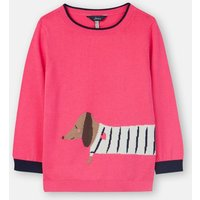 Pink Sausage Dog Miranda Intarsia Jumper 3-12 Years