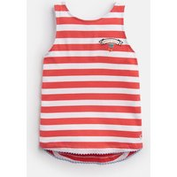 Coral White Stripe Berry Lou Tie Back Tank Top 3-12 Yr  Size 11Yr-12Yr