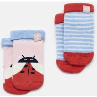 PINK LADYBIRDS Pack of two terry Towelling Socks  Size 2yr-3yr