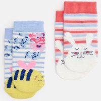 CREAM BUNNY BEE Neat feet Two Pack Character socks  Size 2yr-3yr
