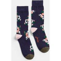 Navy Posy Brilliant Bamboo Single Socks  Size Adult 4-8