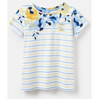 White Yellow And Blue Rose Stripe 204531 Printed Lightweight Jersey T-Shirt  Size 10