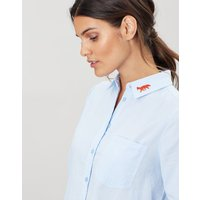 Lorena Embroidered Longline Woven Shirt