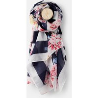 French Navy And Creme Whitstable Floral Stripe 204149 Longline Woven Scarf  Size One Size