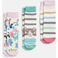 Multi Stripe Cat Brilliant Bamboo 3 Pack Socks  Size Childrens 13-3