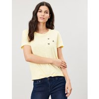 Carley Embroidered Classic Crew Neck Top