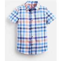 Blue Orange Multi Check Sark Short Sleeve Check Shirt 1-12 Yr  Size 9Yr-10Yr