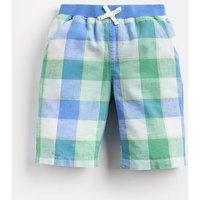 BLUE GREEN GINGHAM Huey Linen Mix Woven Short 1-12 Yr  Size 3yr