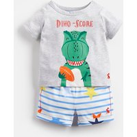 GREY DINO STAR STRIPE Barnacle Jersey Screenprinted T-Shirt And Shorts Set  Size 12m-18m