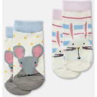 Multi Bunny Mouse Neat Feet 2 Pack Character Socks  Size 6M-12M