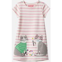 Pink Stripe Double Cats Kaye Applique Dress 1-6 Years  Size 1Yr