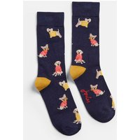 Navy Jumper Dogs Brilliant Bamboo Single Socks  Size Adult 4-8