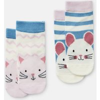 Multi Cat Mouse Neat Feet 2 Pack Character Socks  Size 6M-12M