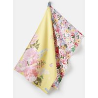 YELLOW FLORAL MULTI Kitchen tea towel 2 Pack Cotton  Size One Size
